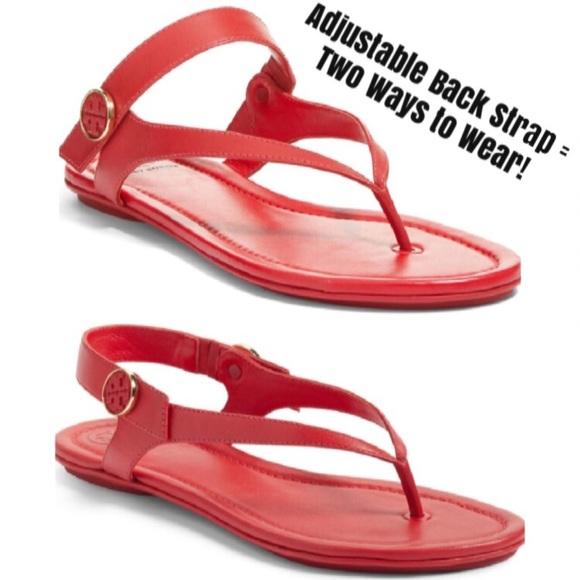 ef6708efaac7 Tory Burch Minnie Travel Sandals in Red. M 5ab9571936b9de0ae2144721